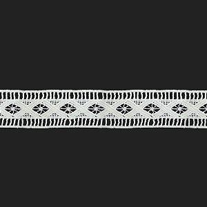 Fita Renda Branca Poliéster F107. 4cm
