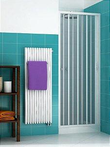 Box sanfonado para Banheiro largura de 116 cm até 130 cm x 1,85 altura Cor Branco - Largura 1,30 x 1,85 Altura