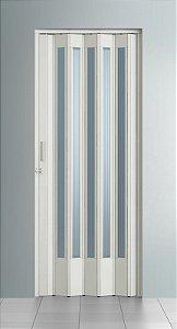 Porta Sanfonada Translucida Branca com Trinco - BCF Plasticos - Esquadriplast