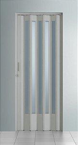 Porta Sanfonada Translucida Cinza com Trinco - BCF Plasticos - Esquadriplast