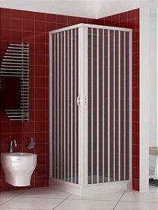 Box Sanfonado de Canto em PVC - Largura externa até  1,15 x 1,15 x 1,85 Altura cor Branco - BCF - Esquadriplast
