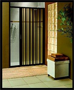 Box sanfonado para Banheiro largura de 56 cm até 70 cm x 1,85 altura Cor Preto - Largura 0,70 x 1,85 Altura