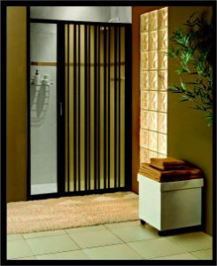 Box sanfonado para Banheiro largura de 146 cm até 160 cm x 1,85 altura Cor Preto - Largura 1,60 x 1,85 Altura