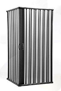 Box Sanfonado de Canto em PVC - Largura externa até  0,85 x 0,85 x 1,85 Altura cor Preto- BCF - Esquadriplast