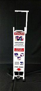 Totem Dispenser para Álcool Gel Higiênico - Suporte com Pedal - Esquadriplast  MOD T2 -BCE.