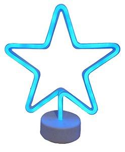 Luminária / Abajur De Led Vazada De Estrela Azul Neon - Silhueta