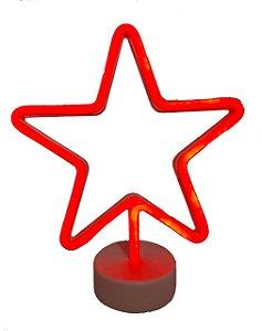 Luminária / Abajur De Led Vazada De Estrela Vermelho Neon - Silhueta