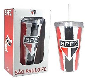 Copo Parede Dupla Com Canudo São Paulo 470ml