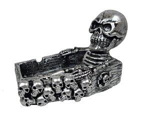 Cinzeiro De Caveira Esqueleto Sentado 3d Crânio Skull Prata