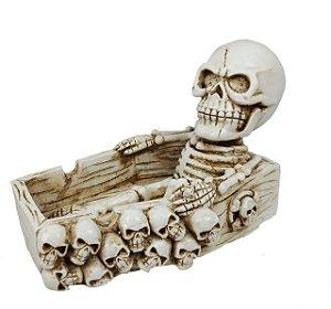 Cinzeiro De Caveira Esqueleto Sentado 3d Crânio Skull Creme