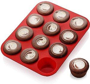 Forma De Silicone P/ Cupcake Petit Gateau Empada /  Assadeira - Vermelho