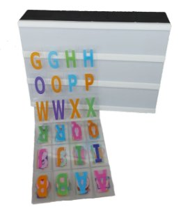 Luminária Quadro Light Box De Led A5 Preta C/ 96 Letras Números Coloridos