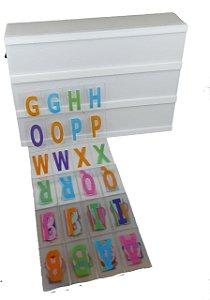 Luminária Quadro Light Box De Led A5 Branca C/ 96 Letras Números Coloridos