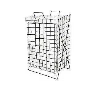 Cesto Roupas Organizador Dobrável + Suporte Quadrado Branco 54x36cm