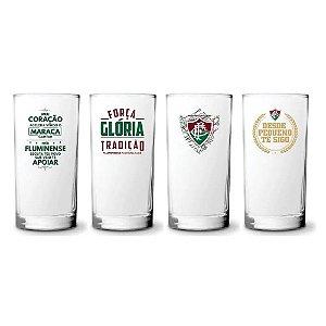 Conjunto Com 4 Copos De Vidro Long Drink Do Fluminense