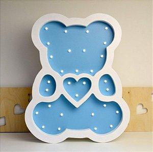 Luminária Led De Urso Azul Em Madeira Luminoso De Ursinho