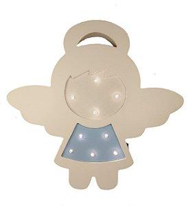Luminária Led De Anjo Em Madeira Luminoso De Anjinho Azul E Branco