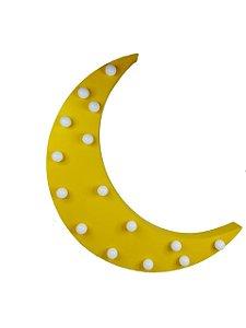 Luminária De Led Meia Lua Em Madeira Amarela A Pilha 37x25cm