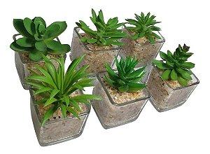 Mini Suculenta Artificial Vaso De Vidro Plantas Artificiais