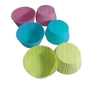 Kit 6 Forminhas De Silicone Cupcake Muffim Mini Bolo R
