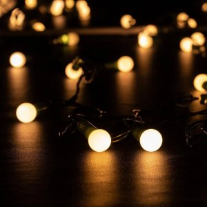 Varal Cordão C/ 40 Bolinhas Luz De Led Quente 127v 6mts Luminária
