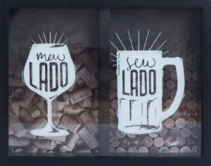 Quadro Porta Rolhas E Tampinhas - Vinho E Cerveja Uatt