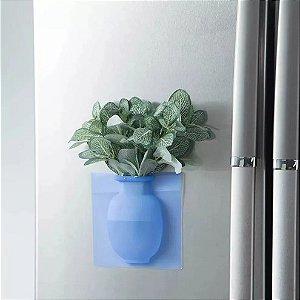 Vaso Adesivo Em Silicone De Parede Vidros P/ Flores E Planta Azul