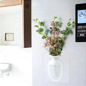 Vaso Adesivo Em Silicone De Parede Vidros P/ Flores Vasinho Branco