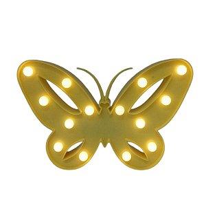 Luminária De Led Borboleta Amarela P/ Decoração