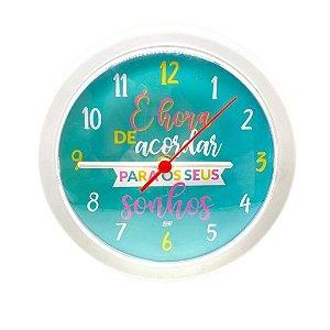 Relógio De Parede Analógico Branco - É Hora De Acordar Para Os Seus Sonhos