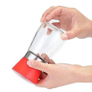 Moedor Manual Porta Condimentos Sal E Pimenta Em Vidro Vermelho