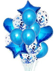 Balão Bexiga Metalizado 10 Peças Estrela Coração Azul