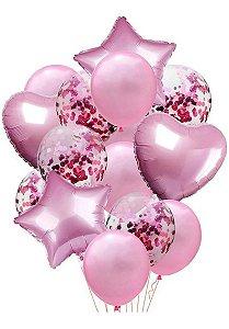 Balão Bexiga Metalizado 10 Peças Estrela Coração Rosa Claro