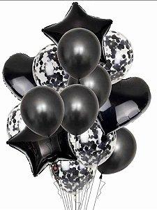 Balão Bexiga Metalizado 10 Peças Estrela Coração Preto