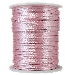 Cordão De Cetim Rabo Rato Rolo Fio 100 Metros X 1mm Rosa
