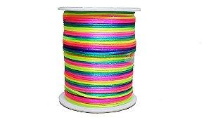Cordão De Cetim Rabo Rato Rolo Fio 100 Metros X 1mm Colorido Neon