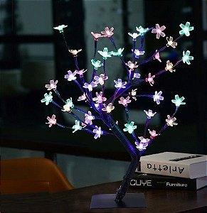 Luminária Árvore Flor Cerejeira 48 Leds Abajur Colorida