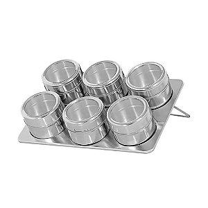 Kit 6 Porta Condimento Inox Tempero Magnético Imã
