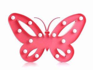 Luminária Led Borboleta Abajur Leds Decoração Rosa Pink
