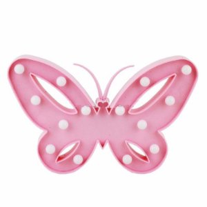 Luminária Led Borboleta Abajur Leds Decoração Rosa Bebe