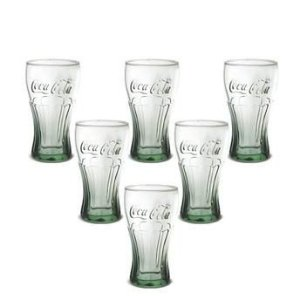 Conjunto 6 Copos Coca Cola Verde em Vidro