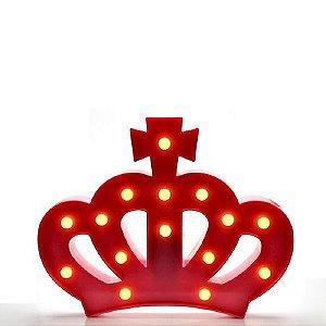 Luminária Led Coroa Abajur Leds Decoração Vermelho