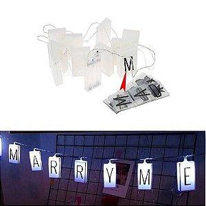 Cordão Fio Letreiro Luminaria Mini Varal Luz Led - 60 Letras