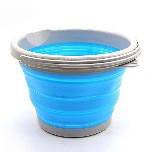 Balde De Silicone Retrátil Azul 5l Balde Dobrável