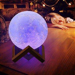 Luminária Lua Cheia 10 cm 3d Abajur Led Relevo - Azul