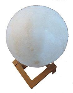Luminária Lua Cheia 10 cm 3d Abajur Led Relevo - Branco Frio (Branco)