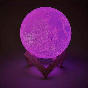 Luminária Lua Cheia 10 cm 3d Abajur Led Relevo - Rosa