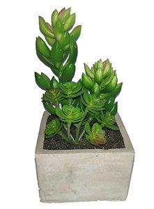 Mini Bonsai com Suculenta Artificial Com Vaso Ceramica 15cm