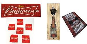 Kit Completo Budweiser - Abridor + Tapete + Porta Copos + Esteira Sofa