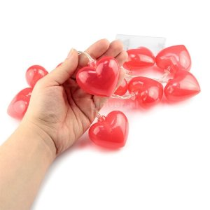Cordão Fio De Luz Led 10 Coração Vermelho